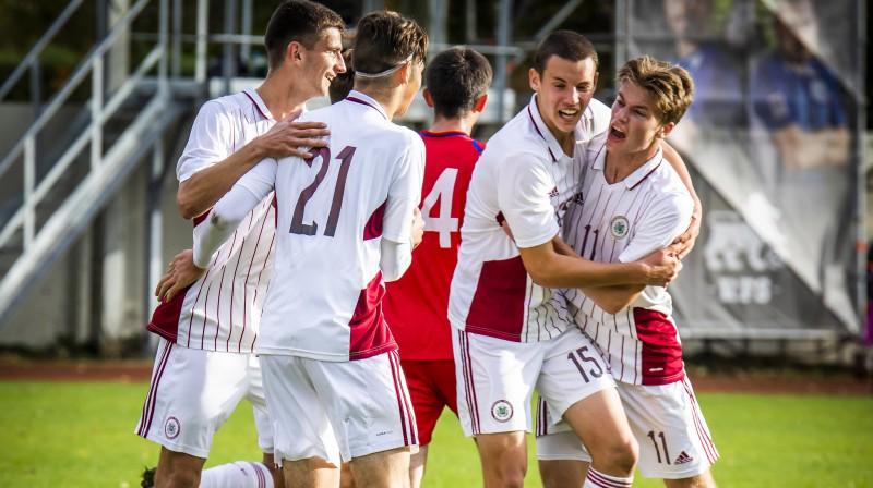 Latvijas U19 futbola izlase. Foto: LFF