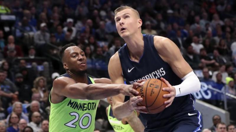 """Kristaps Porziņģis mačā pret """"Timberwolves"""". Foto: USA Today Sports/Scanpix"""