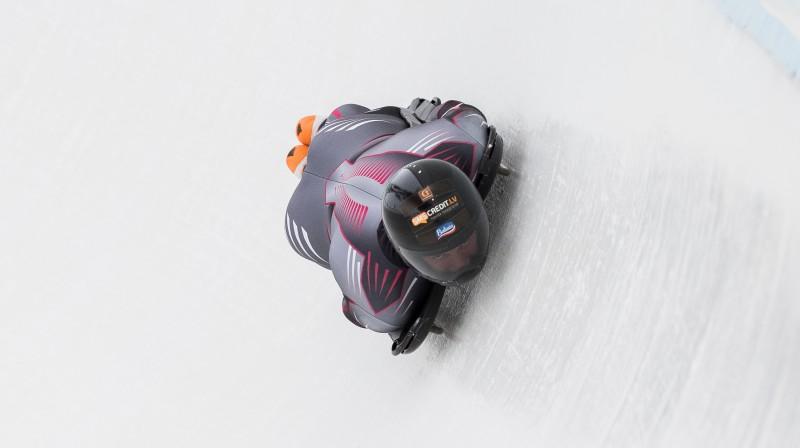 Martins Dukurs treniņbraucienā Leikplesidā. Foto: Viesturs Lācis/bobslejs.lv