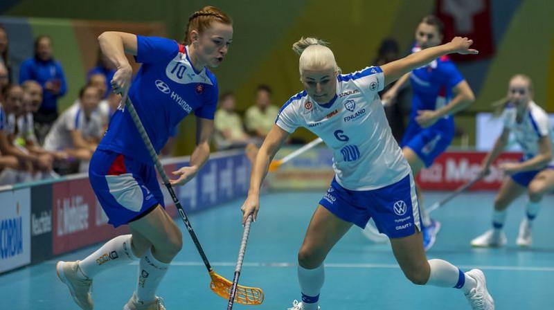 Epizode no Somijas un Slovākijas izlašu cīņas Foto: IFF Floorball
