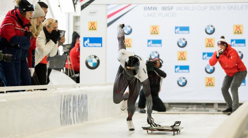 Tomass Dukurs startā. Foto: Viesturs Lācis/bobslejs.lv