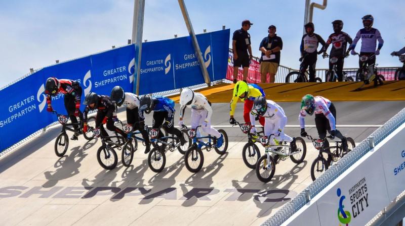 Starts Šepartonas BMX trasē PK sacensībās. Foto: Greatershepparton.com.au.