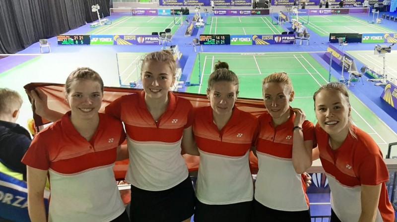 Latvijas sieviešu badmintona izlase. Foto: badminton.lv