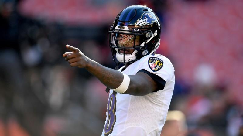 2019. gada NFL sezonas MVP Lamārs Džeksons Foto: AFP/Scanpix