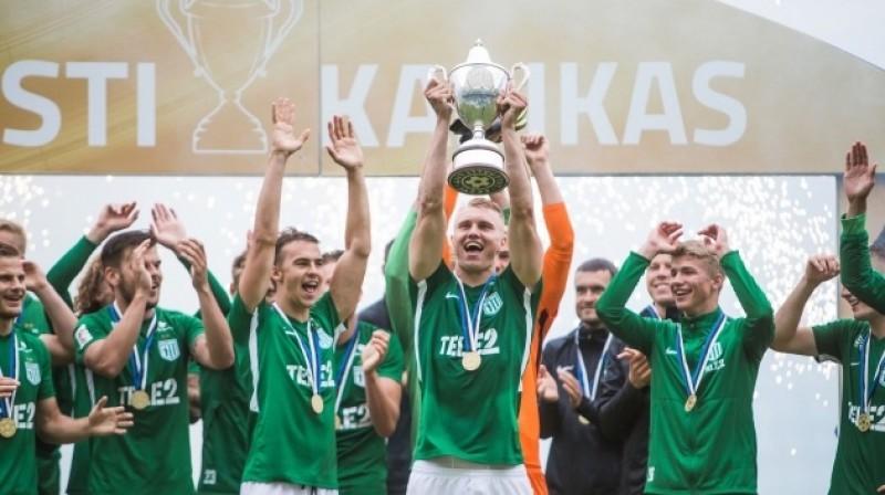 """Tallinas """"Flora"""" pēc triumfa Igaunijas kausā. Foto: soccernet.ee"""