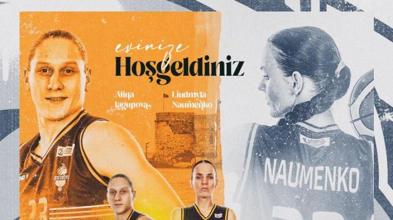 Aļina Jagupova un Ludmila Naumenko: dramatiskākais duets Eiropas basketbolā. Foto: Čukurova Basket