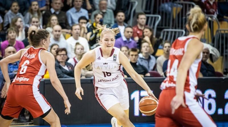 Laura Meldere 18 gadu vecumā debitēja Latvijas valstsvienībā. Foto: FIBA