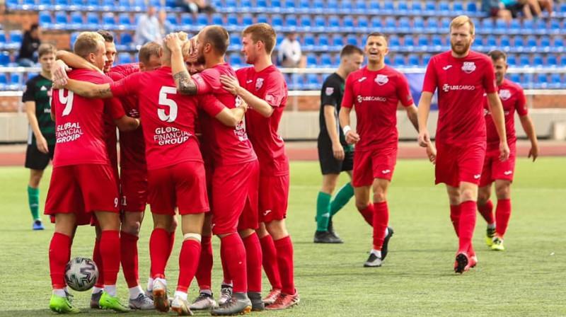 Daugavpilieši svin vārtu guvumu. Foto: FC Lokomotiv Daugavpils