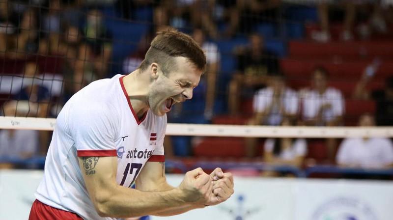 Atvars Ozoliņš - mūsu izlases labākais punktu guvējs EČ kvalifikācijas turnīrā. Foto: CEV