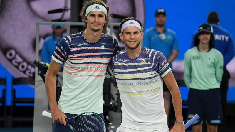 """Aleksandrs Zverevs un Dominiks Tīms janvāra pēdējā dienā """"Australian Open"""" pusfinālā. Foto: imago/Scanpix"""
