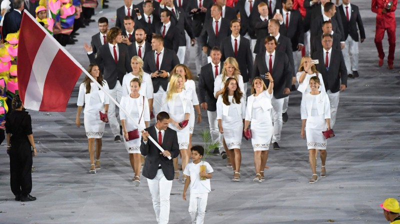 Latvijas delegācija 2016. gada Riodežaneiro vasaras olimpiskajās spēlēs. Foto: Pedro Ugarte/AFP/Scanpix