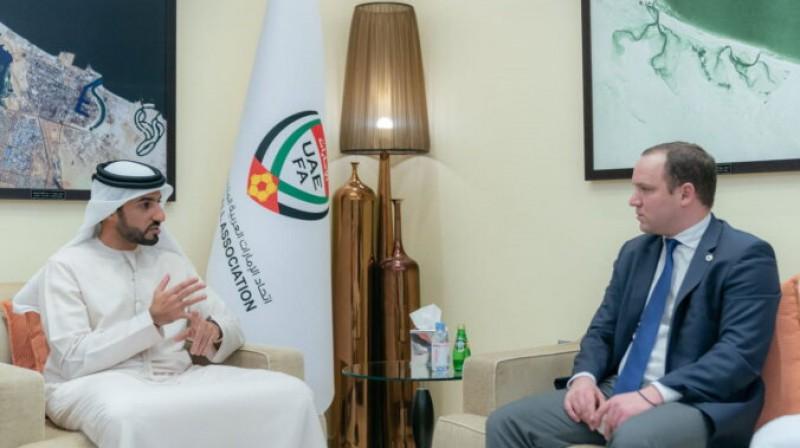 LFF prezidents Vadims Ļašenko un AAE Futbola federācijas prezidents Rašids Humaīds Al-Nuaimi. Foto: lff.lv