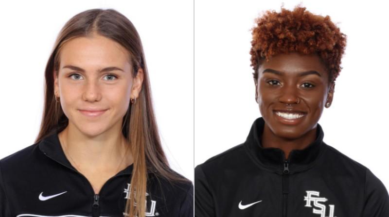 """""""Florida State"""" vieglatlētikas komandas dalībnieces Rūta Lasmane (Latvija) un Elonija Satone (ASV). Foto: seminoles.com"""