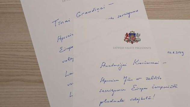 Valsts prezidents pašrocīgi apsveic Eiropas čempiones Graudiņu un Kravčenoku