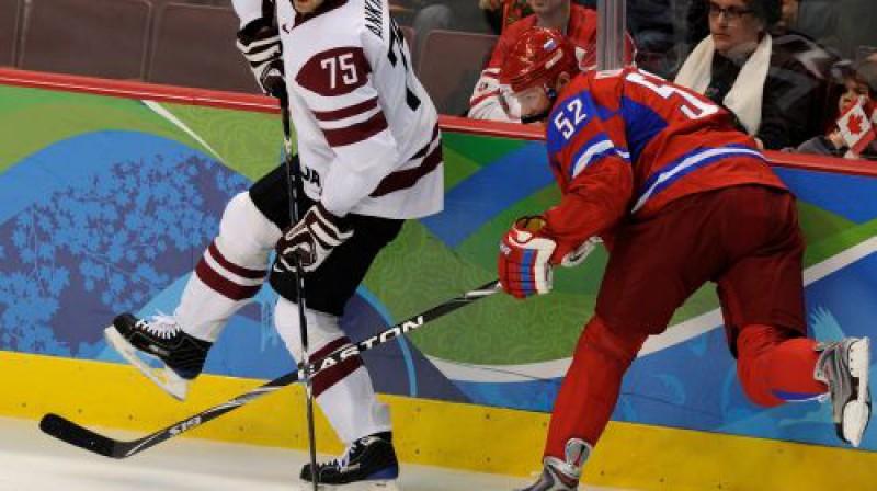 Ģirts Ankipāns spēlē pret Krieviju Foto: Romāns Kokšarovs, Sporta Avīze, f64