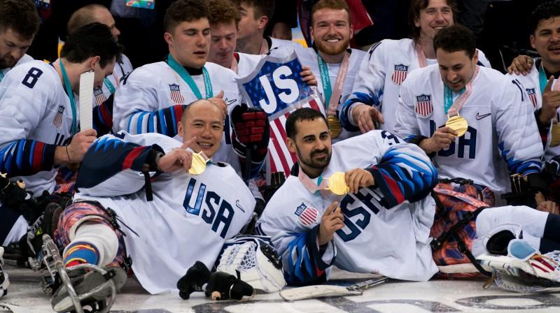 ASV paralimpiskā hokeja izlase Foto: EPA/Scanpix