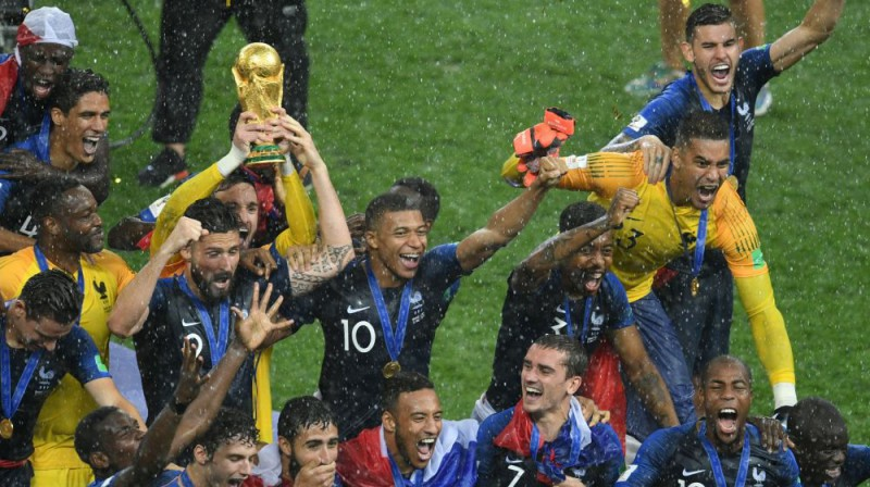 Francijas izlase svin pasaules čempionu titulu. Foto: Sputnik/Scanpix