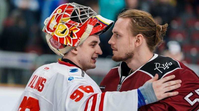 Jānis Kalniņš un Kristers Gudļevskis. Foto: Raimonds Volonts/dinamoriga.lv