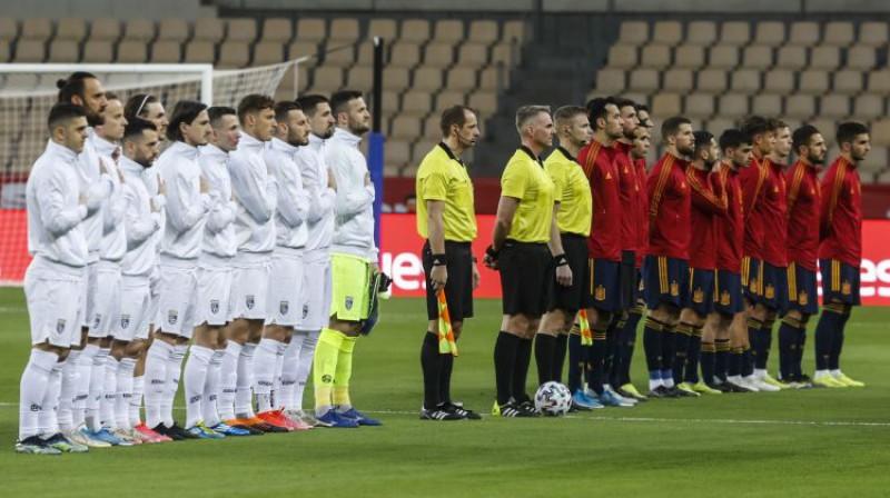Kosovas un Spānijas izlases. Foto: AP/Scanpix