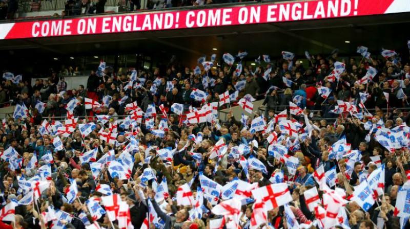 Angļu līdzjutēji Vemblija stadionā. Foto: PA Wire/PA Images/Scanpix