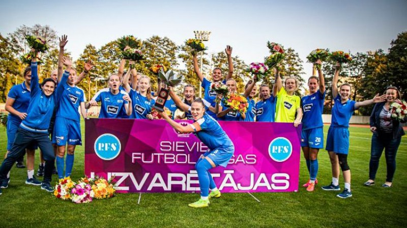 """Rīgas Futbola skola"" lūkos izcīnīt astoto titulu. Foto: Nora Krevņeva-Baibakova/LFF"
