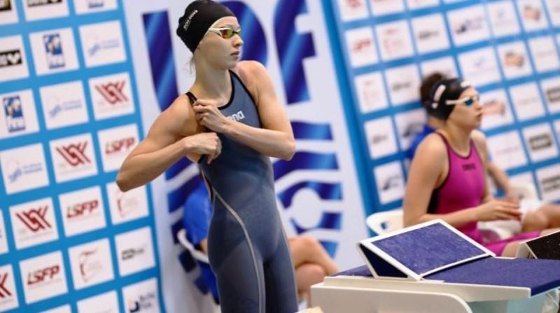 Gabriela Ņikitina priecē ar saviem rezultātiem Brestā. Foto: Swimming.lv