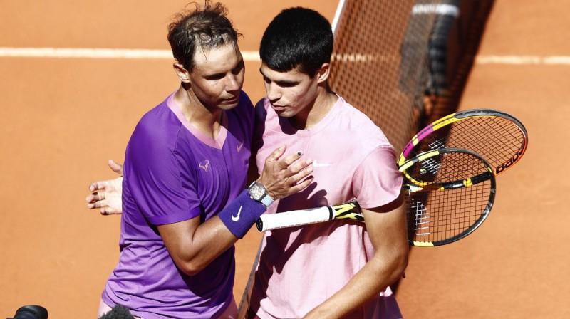 Rafaels Nadals un Karloss Alkarass Madridē. Foto: Reuters/Scanpix