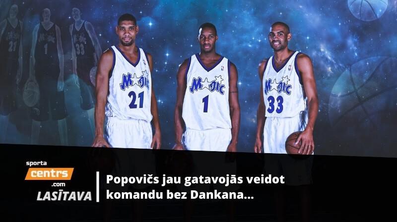 Tims Dankans, Treisijs Makgreidijs, Grants Hils - trio, kas tā arī palika vien uz plakāta... Foto: Yahoo Sports kolāža