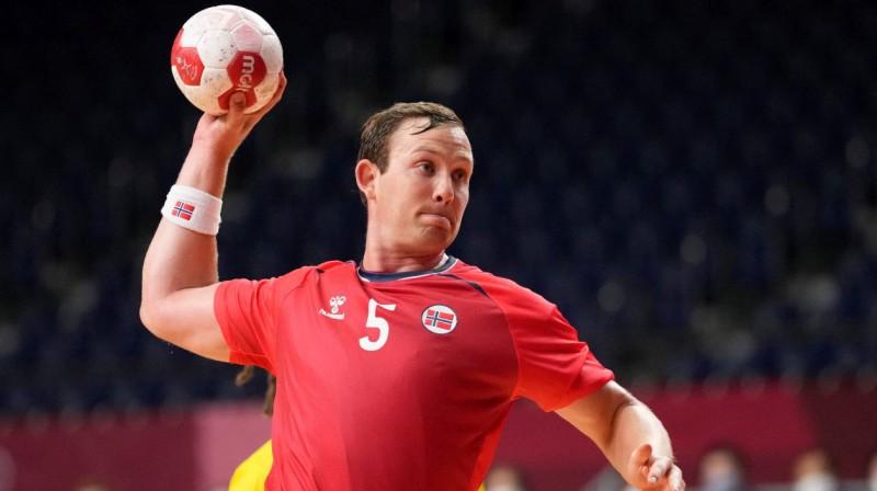 Norvēģijas izlases handbolists Sanders Sagosens. Foto: Pavel Golovkin/AP/Scanpix