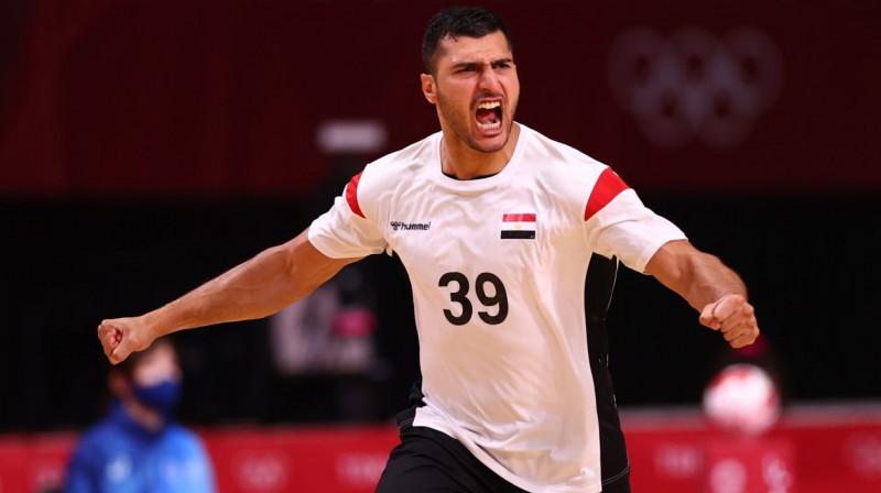 Ēģiptes izlases handbolists Jehija Elderā. Foto: Susana Vera/Reuters/Scanpix