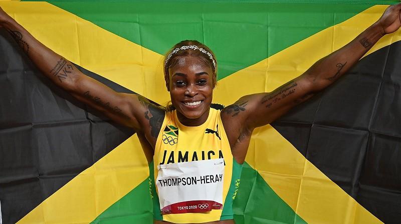 Elaina Tompsone-Hera: otrais ātrākais 100 metru skrējiens vieglatlētikas vēsturē. Foto: SIPA/Scanpix