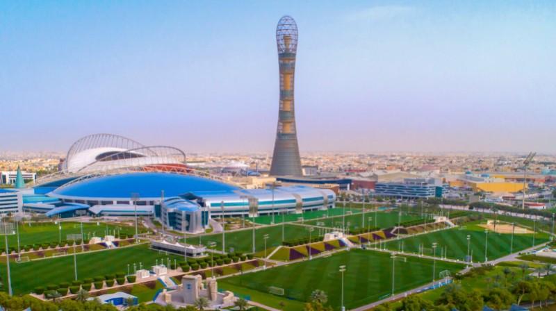 """Aspire Zone"" jeb Dohas sporta pilsēta. Foto: kingofthecourt.com"