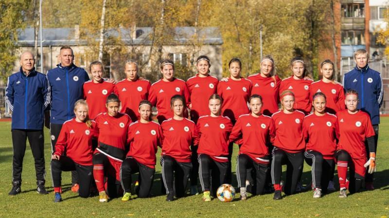 Latvijas U19 sieviešu futbola izlase. Foto: LFF